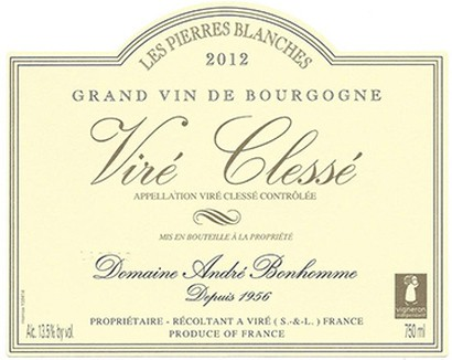 Label Dom Bonhomme Viré Clessé