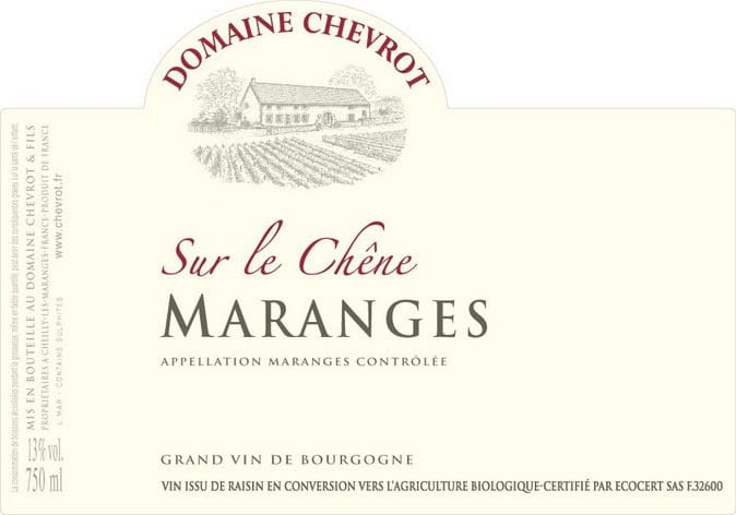 Label Dom Chevrot MARANGES S-CHEN