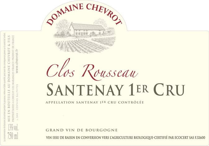 Label Dom Chevrot Santenay Clos Rousseau