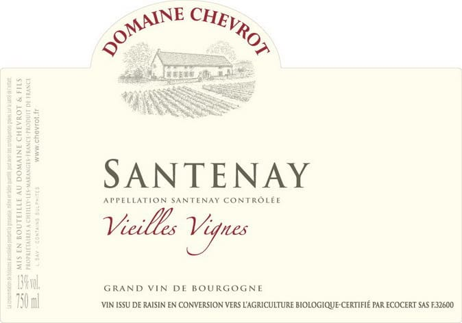 Label Dom Chevrot Santenay VV