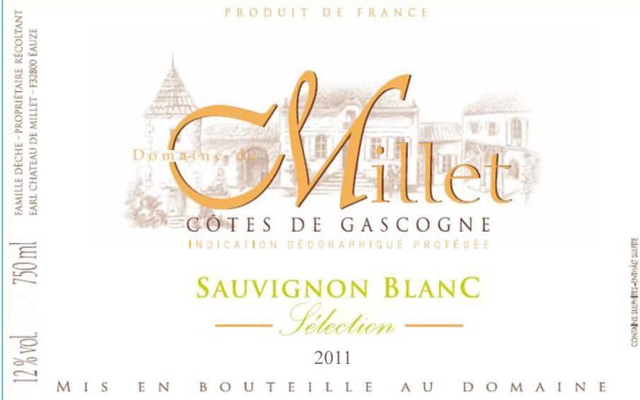 Label Dom Millet Sauvignon 2011- 3.15 in x 3.81 in H