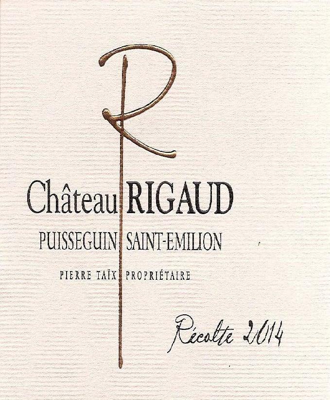 Label Chateau Rigaud Puisseguin ST Emilion rouge