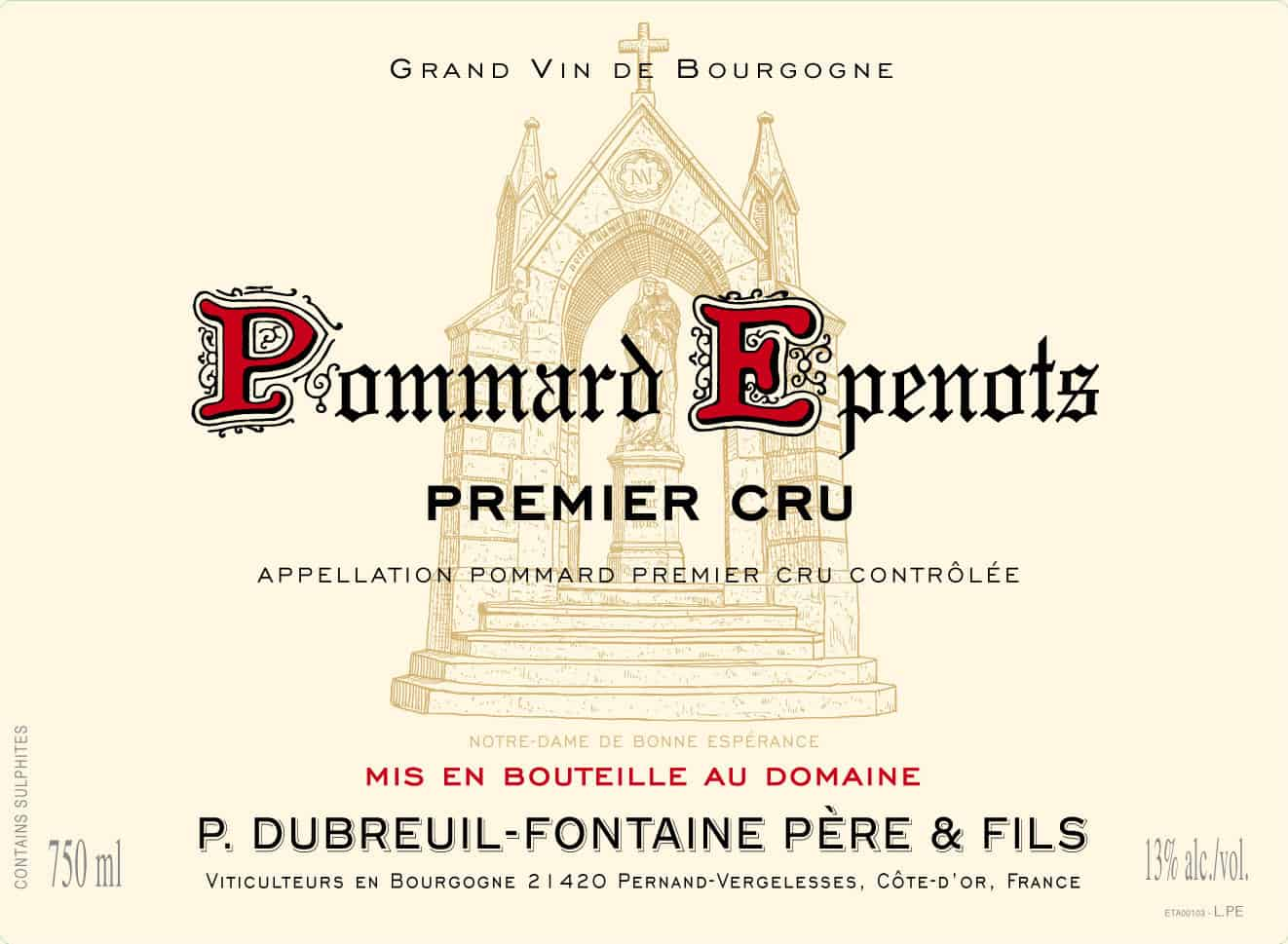 Label Dom Dubreuil Pommard Epenots