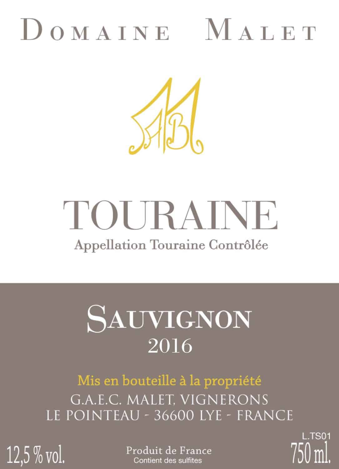 New Label Dom Malet Touraine SB