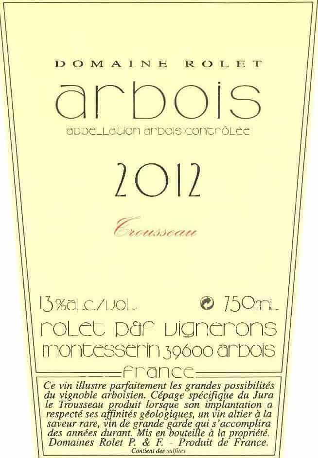 Label Arbois Trousseau