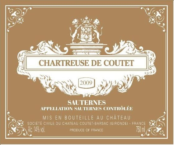 Label Chartreuse de Coutet 2009 brand main label (L4 72 x H3 94 inch)